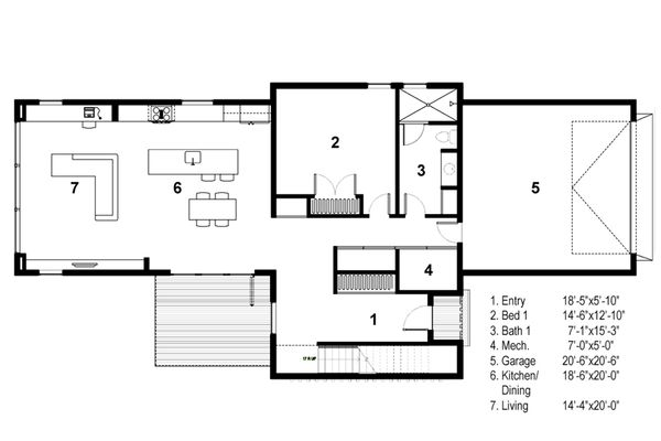 Modern Floor Plan - Main Floor Plan Plan #497-28