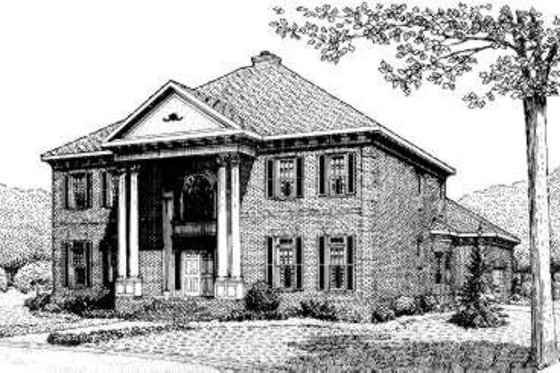 Southern Exterior - Front Elevation Plan #306-115