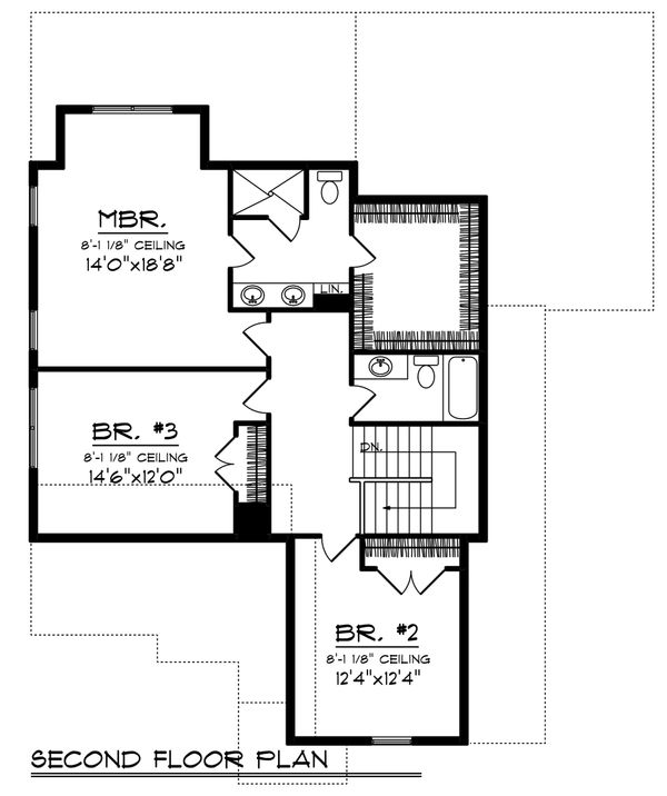 Craftsman Floor Plan - Upper Floor Plan Plan #70-1228