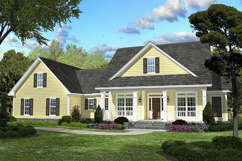 Country Style House Plan - 3 Beds 2.5 Baths 2100 Sq/Ft Plan #430-45 Exterior - Front Elevation