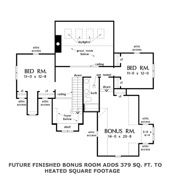 Cottage Floor Plan - Upper Floor Plan Plan #929-1066