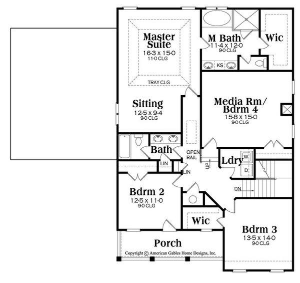 Country Floor Plan - Upper Floor Plan Plan #419-286