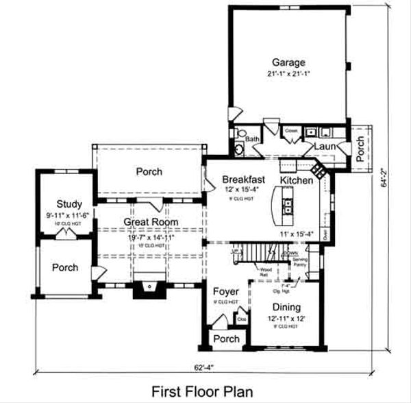 European Floor Plan - Main Floor Plan Plan #46-486
