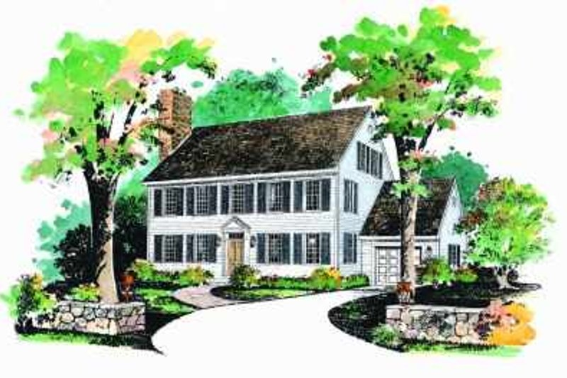Colonial Style House Plan - 3 Beds 2.5 Baths 2507 Sq/Ft Plan #72-356 Exterior - Front Elevation