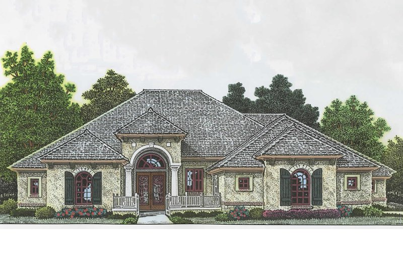 Mediterranean Style House Plan - 4 Beds 3.5 Baths 2621 Sq/Ft Plan #310-979 Exterior - Front Elevation