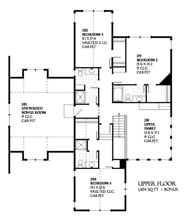 Traditional Floor Plan - Upper Floor Plan Plan #901-68