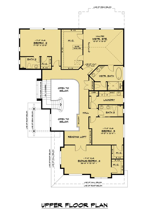 Contemporary Floor Plan - Upper Floor Plan Plan #1066-118
