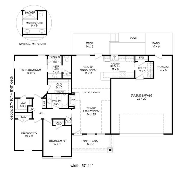 Craftsman Floor Plan - Main Floor Plan Plan #932-205