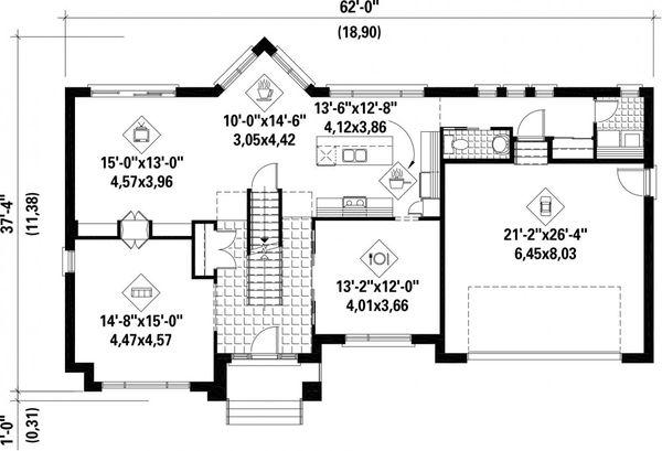 Contemporary Floor Plan - Main Floor Plan Plan #25-4625