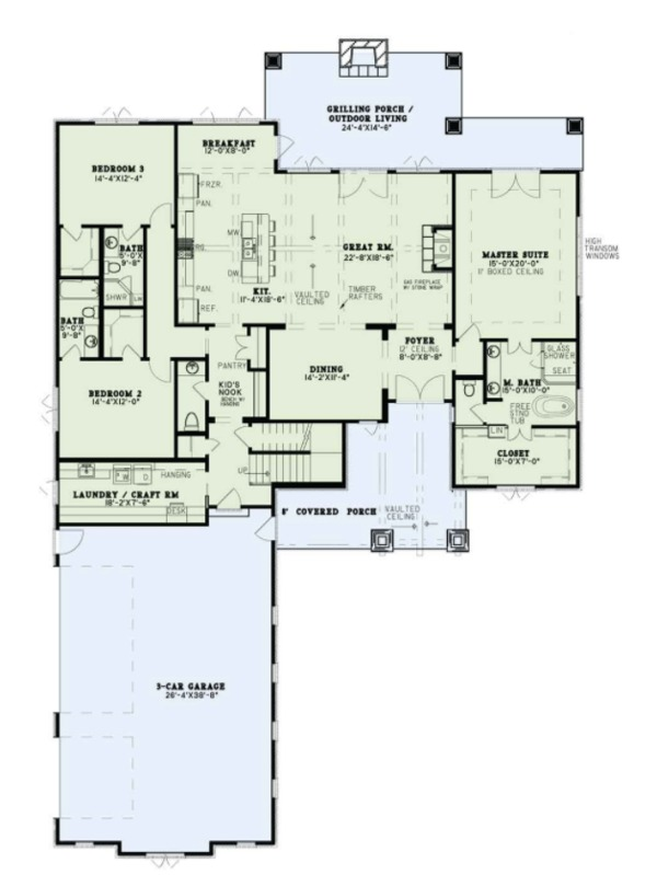 European Style House Plan - 4 Beds 4.5 Baths 3251 Sq/Ft Plan #17-3416 Floor Plan - Main Floor Plan