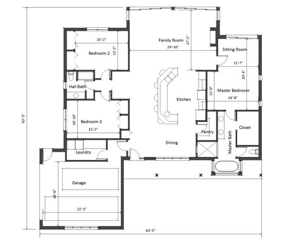 Ranch Floor Plan - Main Floor Plan Plan #481-5