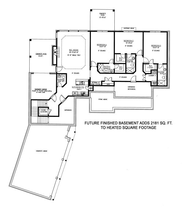 Craftsman Floor Plan - Lower Floor Plan Plan #437-102