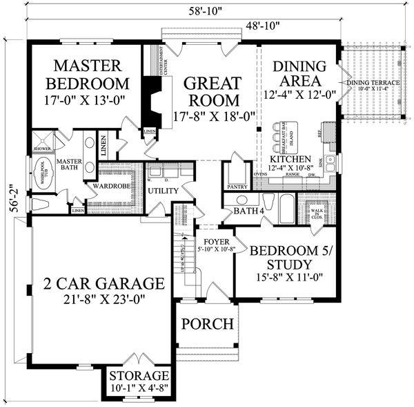Cottage Floor Plan - Main Floor Plan #137-289