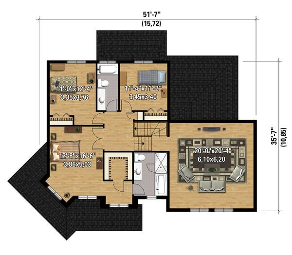 Traditional Floor Plan - Upper Floor Plan Plan #25-4344