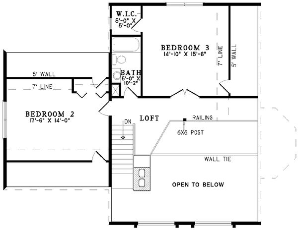 Log Floor Plan - Upper Floor Plan Plan #17-3103