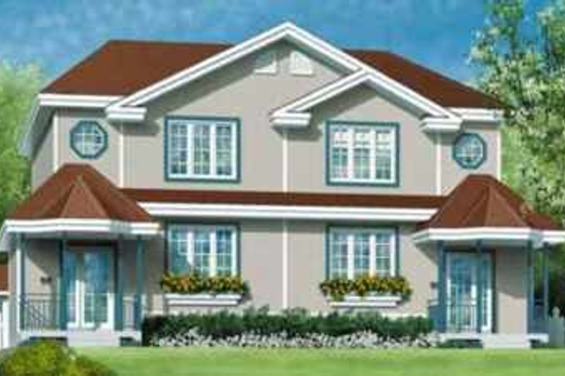 European Style House Plan - 3 Beds 1.5 Baths 2404 Sq/Ft Plan #25-357 Exterior - Front Elevation
