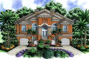 Beach Style House Plan - 3 Beds 3.5 Baths 7907 Sq/Ft Plan #27-469 Exterior - Front Elevation