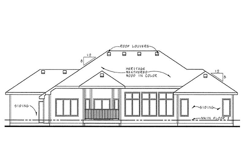 Traditional Exterior - Rear Elevation Plan #20-2120 - Houseplans.com