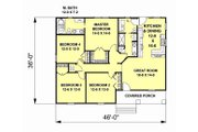 Craftsman Style House Plan - 4 Beds 2 Baths 1541 Sq/Ft Plan #44-180 Floor Plan - Main Floor