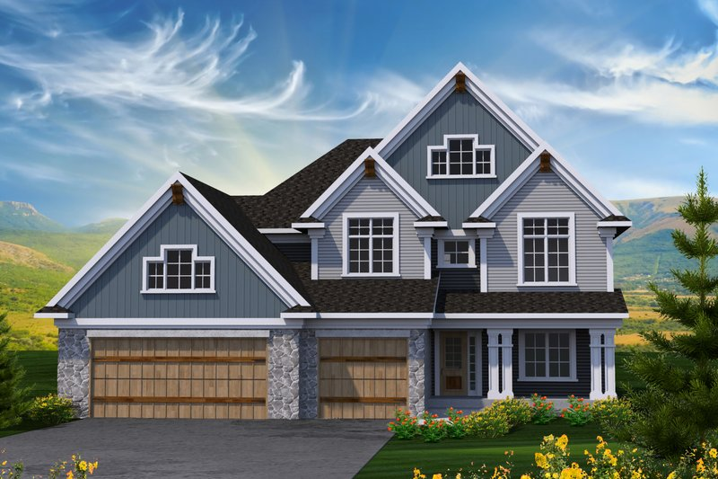 Dream House Plan - Craftsman Exterior - Front Elevation Plan #70-1231