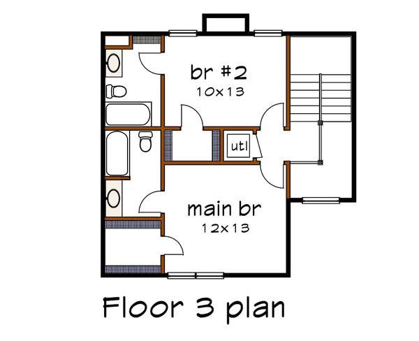 Traditional Floor Plan - Upper Floor Plan Plan #79-145
