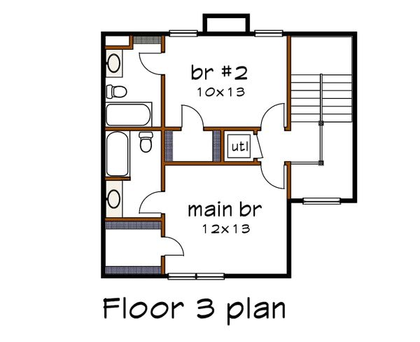 Traditional Floor Plan - Upper Floor Plan Plan #79-145
