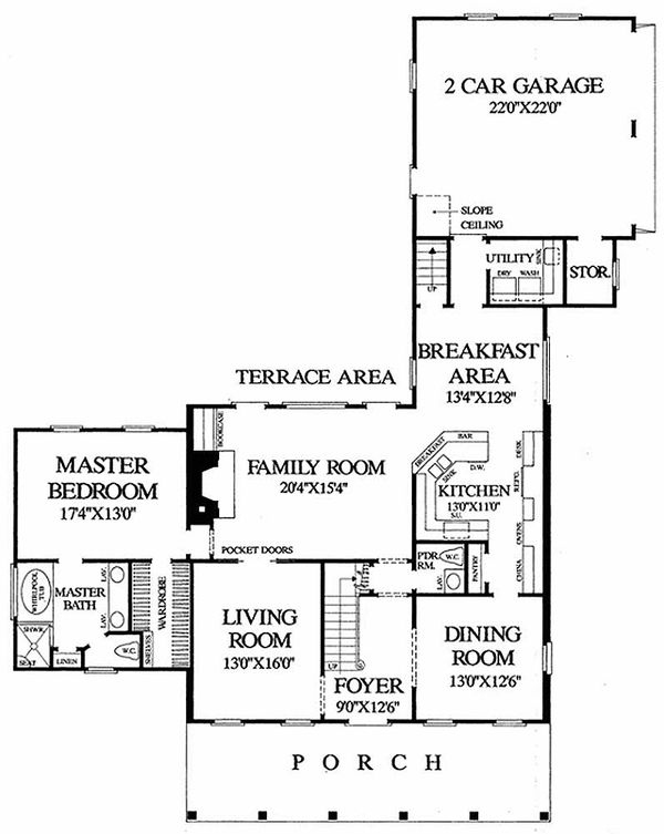 Southern Floor Plan - Main Floor Plan Plan #137-140