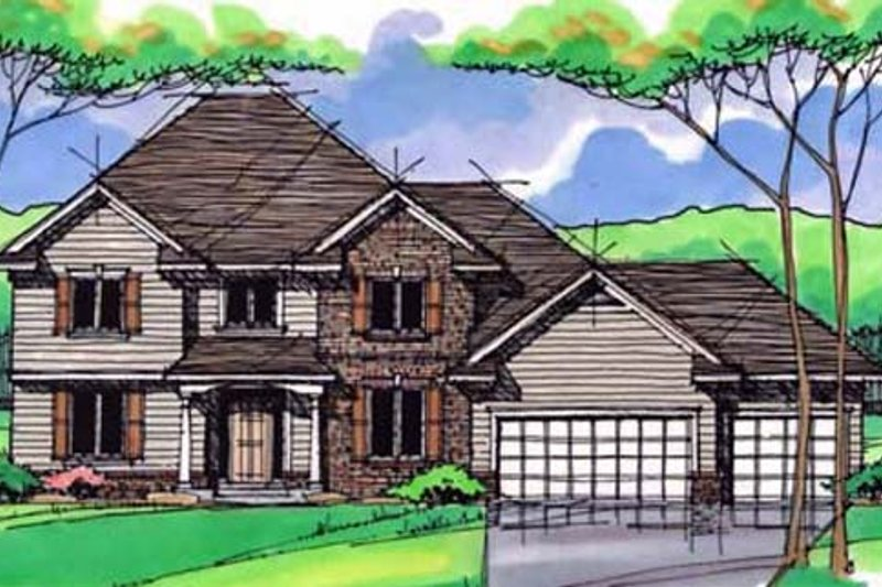 Traditional Exterior - Front Elevation Plan #51-392 - Houseplans.com