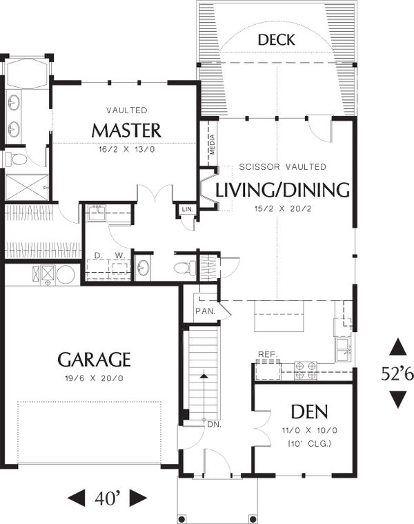 Main Level Floor Plan - 2000 square foot Traditional home