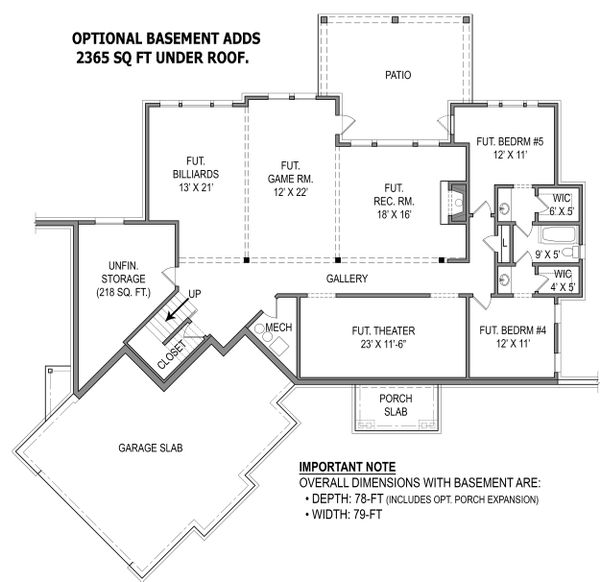 Home Plan - Optional Basement