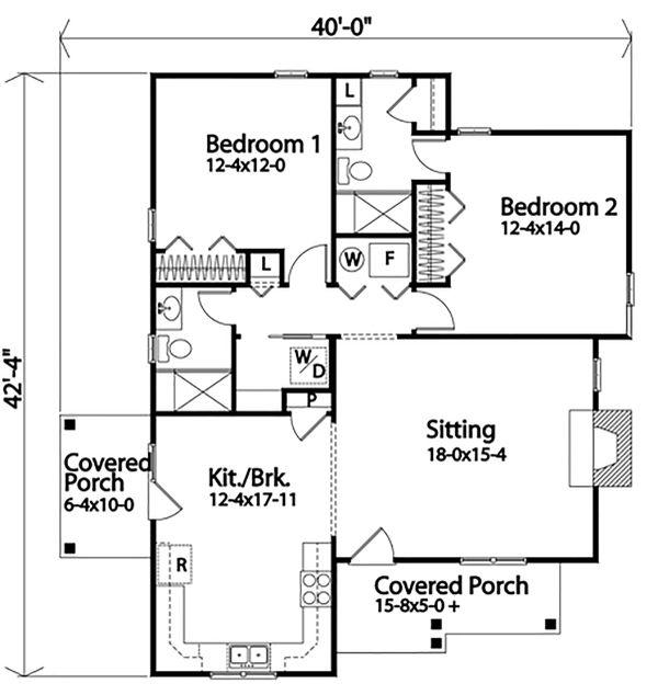 Dream House Plan - Cottage Floor Plan - Main Floor Plan #22-574