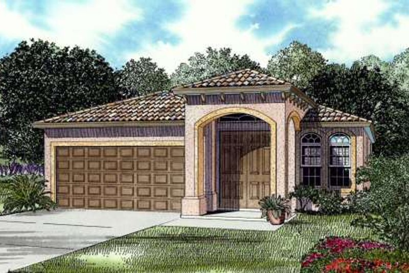 Mediterranean Style House Plan - 3 Beds 2 Baths 1744 Sq/Ft Plan #420-113 Exterior - Front Elevation