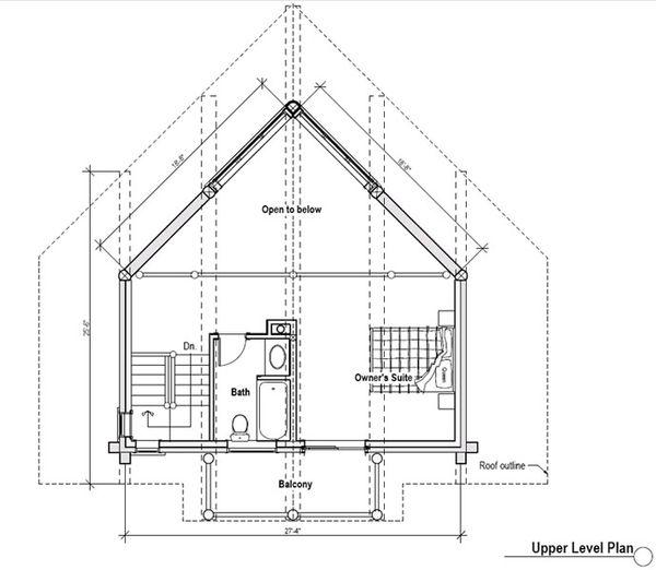 Log Floor Plan - Upper Floor Plan #451-9