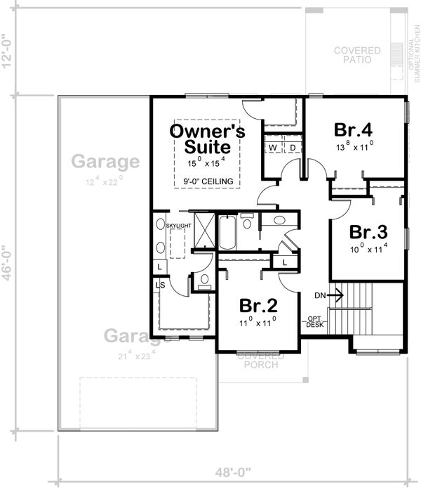 Dream House Plan - Traditional Floor Plan - Upper Floor Plan #20-2403