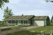 Ranch Style House Plan - 3 Beds 1 Baths 1232 Sq/Ft Plan #57-407 Exterior - Front Elevation