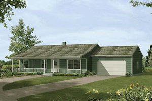 Ranch Exterior - Front Elevation Plan #57-407