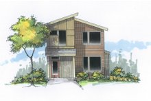 Home Plan - Contemporary Exterior - Front Elevation Plan #53-614