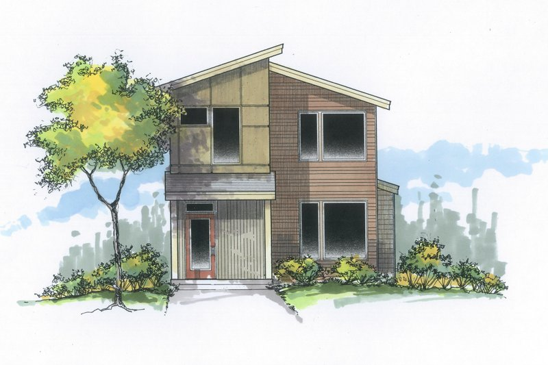Architectural House Design - Contemporary Exterior - Front Elevation Plan #53-614