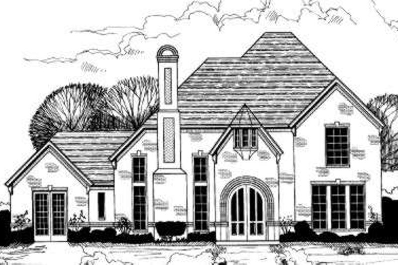 European Style House Plan - 5 Beds 3.5 Baths 3771 Sq/Ft Plan #317-127 Exterior - Front Elevation