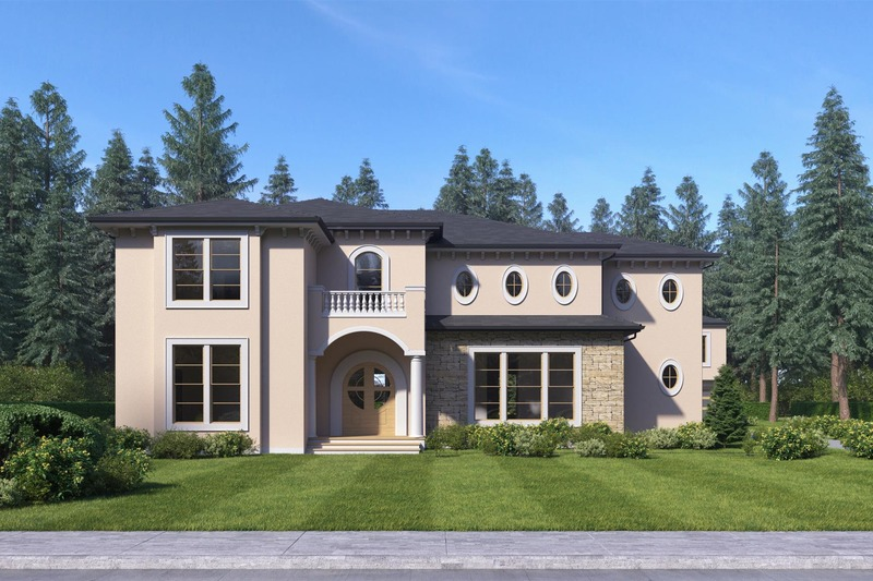 Mediterranean Style House Plan - 5 Beds 5 Baths 4206 Sq/Ft Plan #1066-46 Exterior - Front Elevation