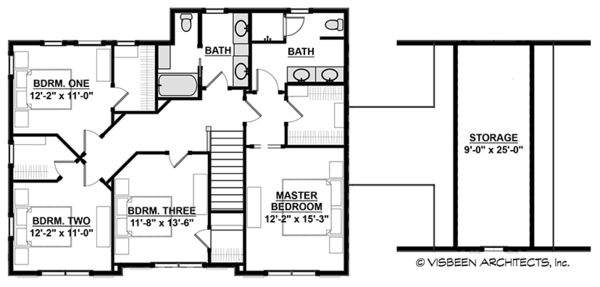 Colonial Floor Plan - Upper Floor Plan Plan #928-289