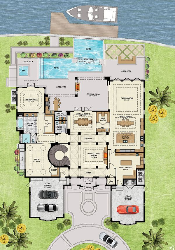 Mediterranean Floor Plan - Main Floor Plan Plan #548-19