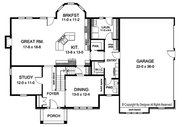 Colonial Floor Plan - Main Floor Plan Plan #1010-170