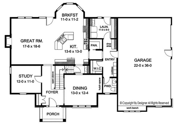 House Plan Design - Colonial Floor Plan - Main Floor Plan #1010-170