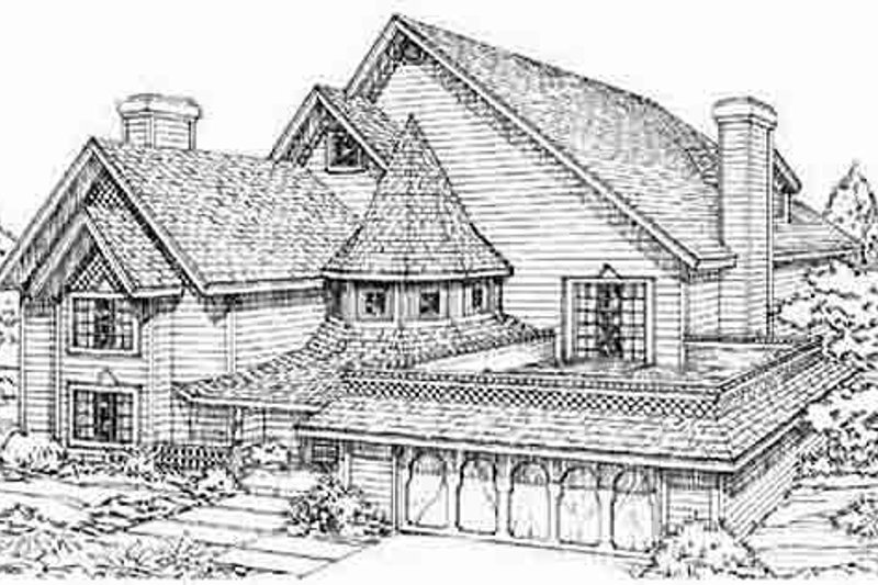 European Style House Plan - 3 Beds 2.5 Baths 2546 Sq/Ft Plan #1-579 Exterior - Front Elevation