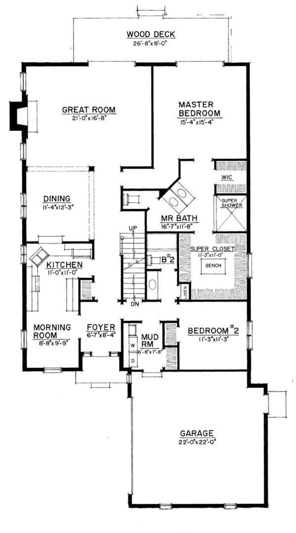 European Floor Plan - Main Floor Plan Plan #1016-108
