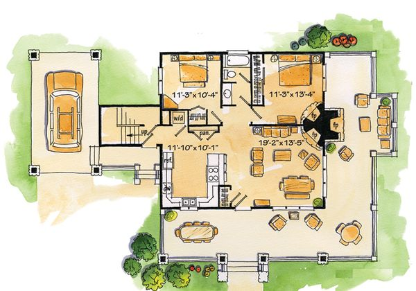Architectural House Design - Cabin Floor Plan - Main Floor Plan #942-22