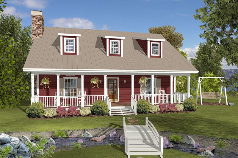 Country Style House Plan - 3 Beds 3 Baths 2843 Sq/Ft Plan #56-725 Exterior - Front Elevation