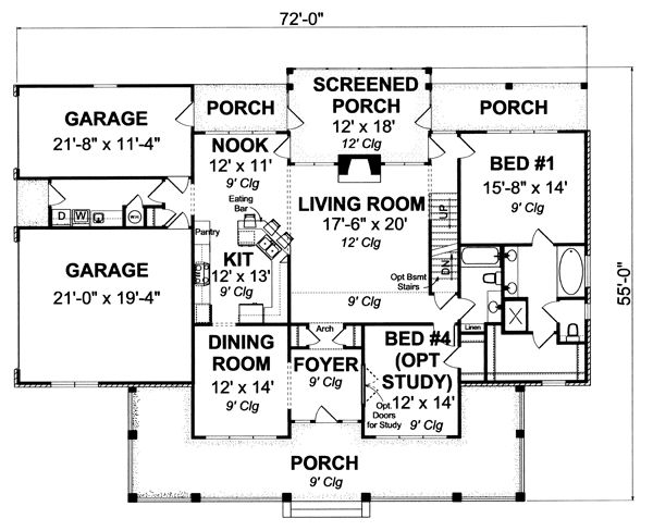 Farmhouse Floor Plan - Main Floor Plan Plan #513-2050