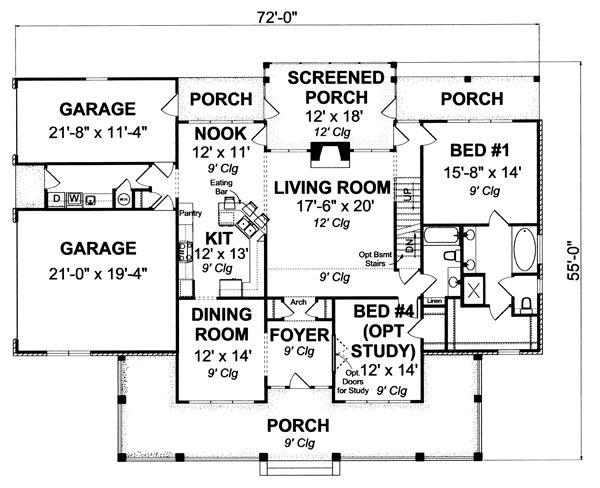 House Plan Design - Farmhouse Floor Plan - Main Floor Plan #513-2050